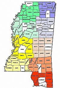 Color Coded Map of Mississippi